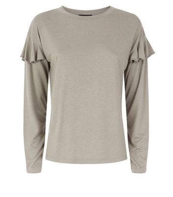 Olive Green Brushed Frill Sleeve T-Shirt New Look