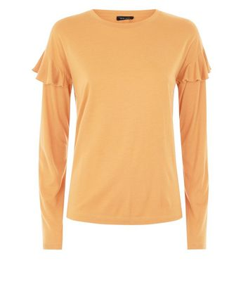 Mustard Brushed Frill Sleeve T-Shirt New Look