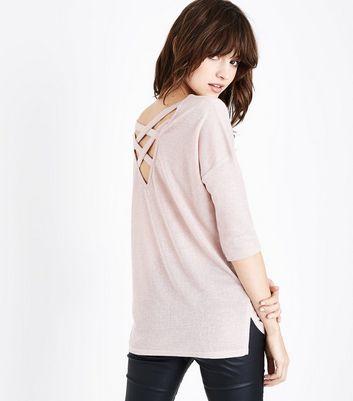 Shell Pink Glitter Fine Knit Lattice Back Top New Look