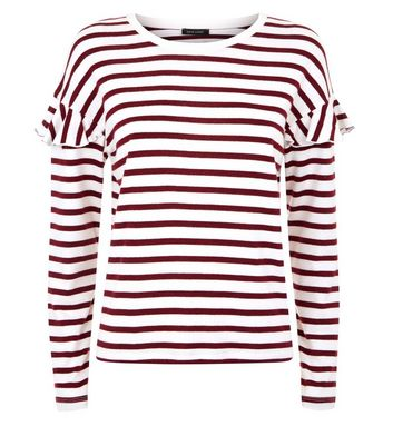 Red Stripe Brushed Frill Sleeve T-Shirt New Look