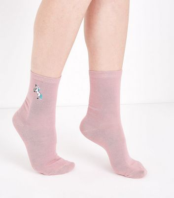 Pink Unicorn Embroidered Socks New Look
