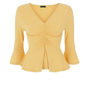 Mustard Ribbed Ruched Frill Trim Top New Look