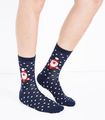Navy Polka Dot Santa Pom Pom Christmas Socks New Look