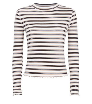 Camel Stripe Long Sleeve Ribbed T-Shirt New Look