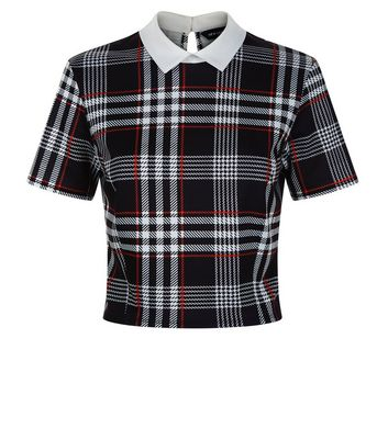 Black and Red Check Collared Crop Top New Look