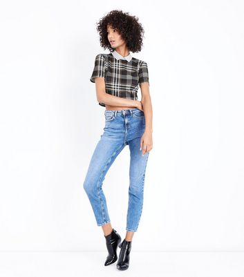 Black and Mustard Check Collared Crop Top New Look