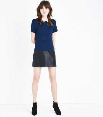 Navy Collar Boxy T-Shirt New Look