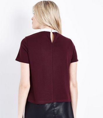 Burgundy Collar Boxy T-Shirt New Look