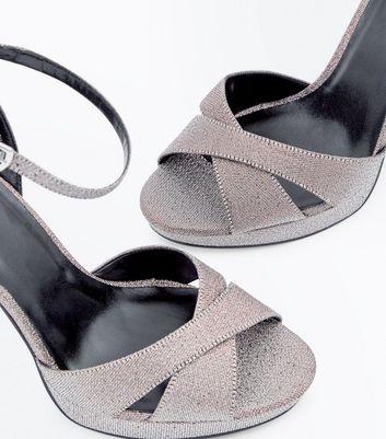 Multi-Coloured Glitter Cross Strap Platform Heels New Look