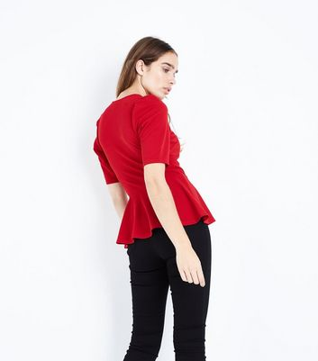Red Crepe V Neck Peplum Top New Look