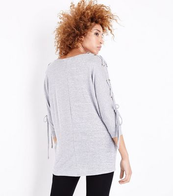 Pale Grey Fine Knit Eyelet Batwing Sleeve Top New Look