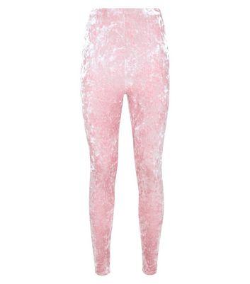 Pink Crushed Velvet High Waist Leggings New Look