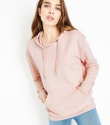 Shell Pink Pocket Front Hoodie New Look