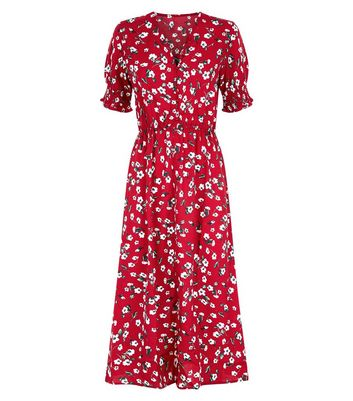 Influence Red Floral Print Midi Dress New Look