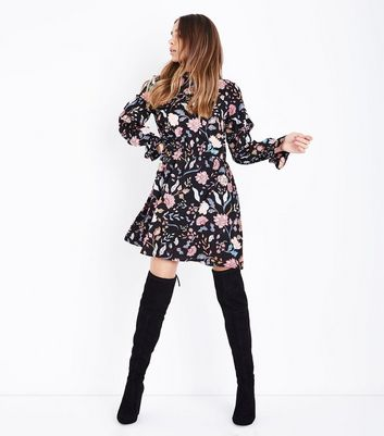 Influence Black Floral Print Funnel Neck Dress New Look