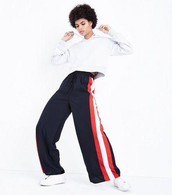 Influence Black Stripe Side Wide Leg Trousers New Look