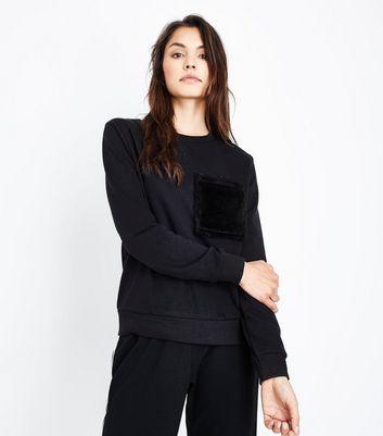 Black Faux Fur Pocket Sweatshirt New Look
