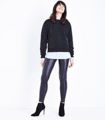 Black Glitter Sweatshirt New Look