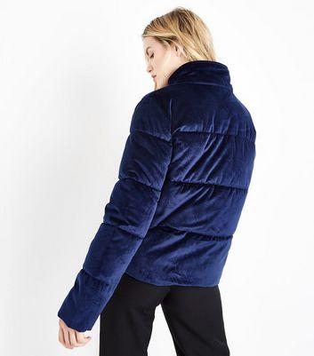 Urban Bliss Navy Velvet Puffer Jacket New Look