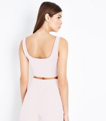 Shell Pink Suedette Crop Top New Look