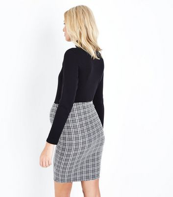 Maternity Black Check Jersey Tube Skirt New Look