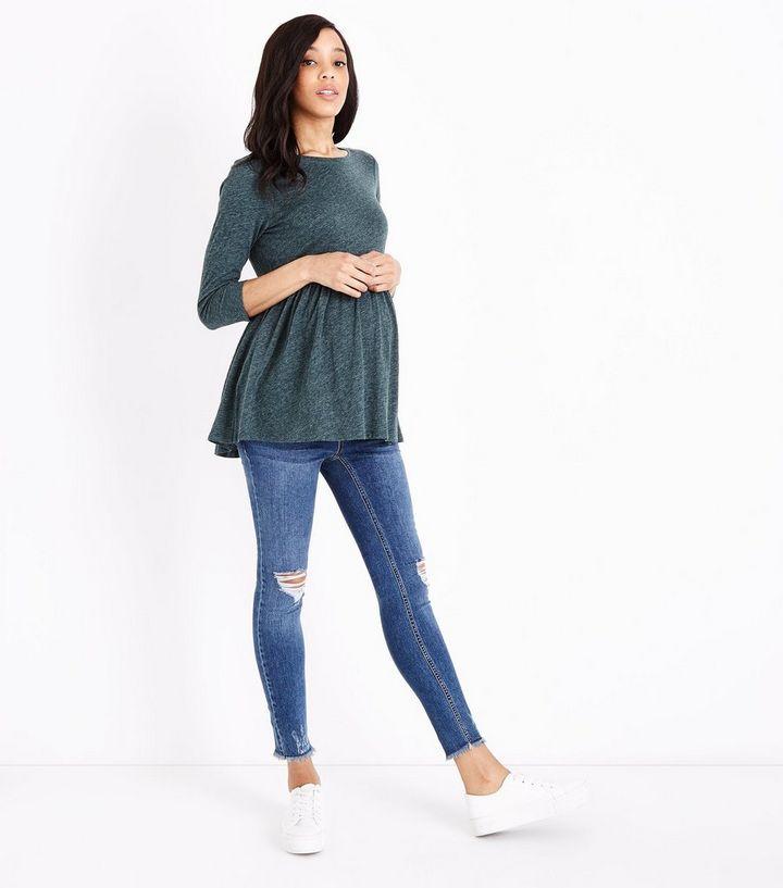 4dd03fca5dec6 Maternity Blue Ripped Fray Hem Under Bump Skinny Jeans | New Look