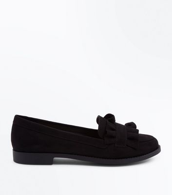 Wide Fit Black Suedette Frill Trim Loafers