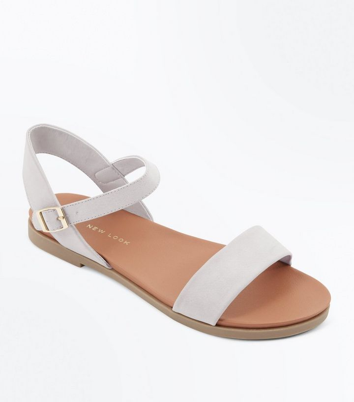 1553a9101b729 Wide Fit Grey Flat Sandals | New Look