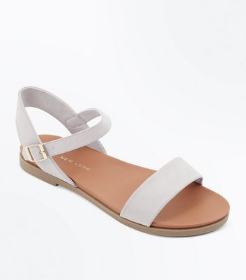 Wide Fit Grey Flat Sandals | New Look