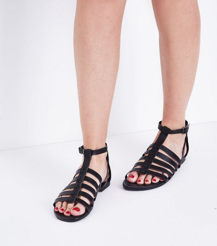 prigione Lontano Mediatore  Wide Fit Black Gladiator Flat Sandals | New Look