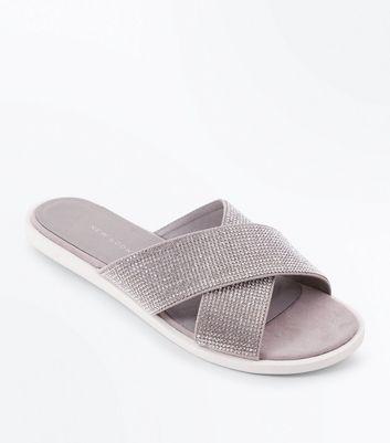 Wide Fit Grey Diamante Cross Strap Sliders New Look