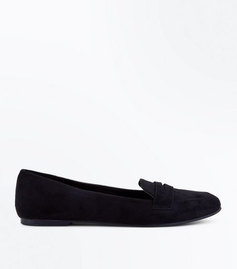 9c599f60e74 Black Suedette Penny Loafers · Black Suedette Penny Loafers ...