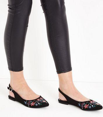 Black Suedette Floral Embroidered Sling Back Pumps New Look