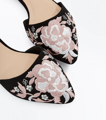 Black Suedette Floral Embroidered Ankle Strap Pumps New Look