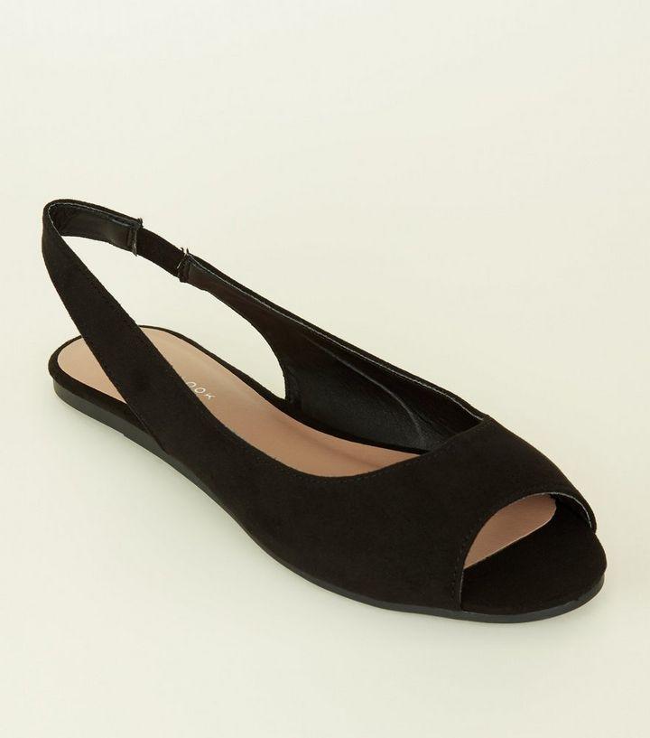 Black Suedette Peep Toe Flat Slingbacks