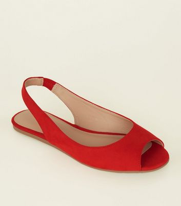 Red Suedette Peep Toe Flat Slingbacks