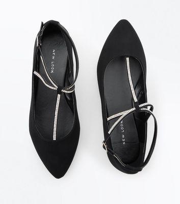 Black Suedette Diamante T-Bar Pointed Pumps New Look