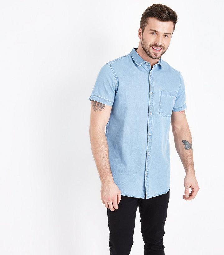 276db01779a Pale Blue Short Sleeve Denim Shirt