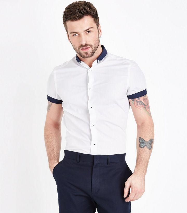 Weißes Hemd aus Popeline mit Kontrastborte   New Look 3de5ddc4c1