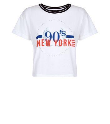 Teens White 90s New York Circle Print T-Shirt New Look