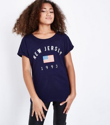 Teens Navy New Jersey Printed T-Shirt New Look
