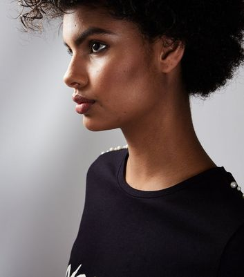 Black Noir & Blanc Pearl Shoulder T-Shirt New Look