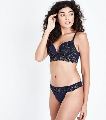 Navy Lace Floral Print Thong New Look