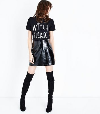 Black Witch Please Slogan T-Shirt New Look