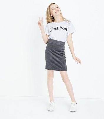 Teens Grey Suedette Skirt New Look