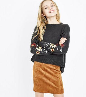 Teens Tan Suedette Skirt New Look