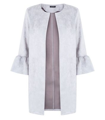 Grey Suedette Bell Sleeve Longline Jacket New Look