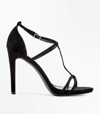 Black Suedette T-Bar Strappy Stiletto Heel Sandals New Look