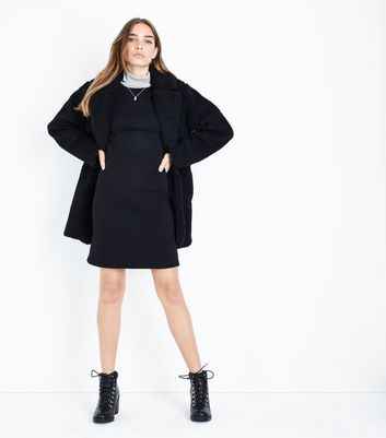 Black Longline Sweater Dress New Look