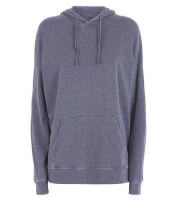 Dark Grey Acid Wash Oversized Hoodie New Look